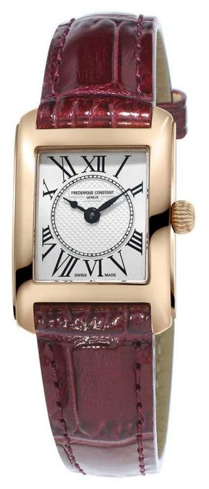 Frederique Constant Womens Carree Brown Leather Strap Silver Dial FC-200MC14