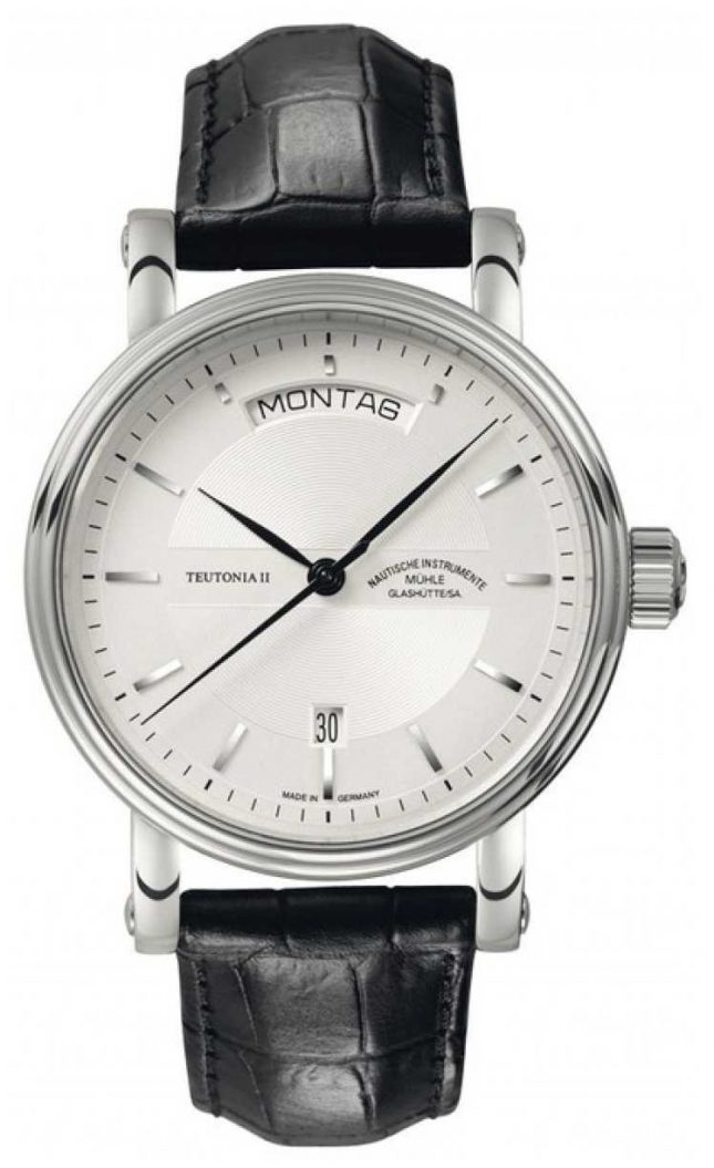 Muhle Glashutte Teutonia II Tag/Datum Leather Band Silver  Dial M1-33-65-LB
