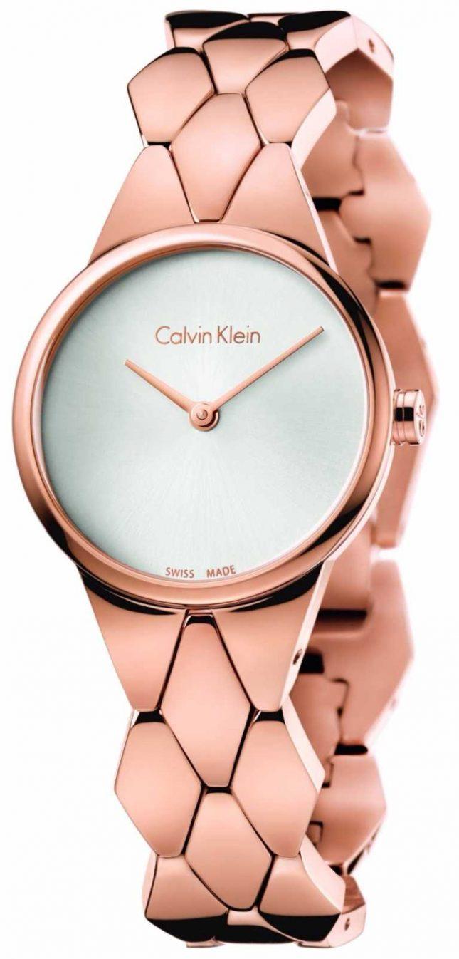 Calvin Klein Womens Snake Rose Gold PVD Bracelet Silver Dial K6E23646