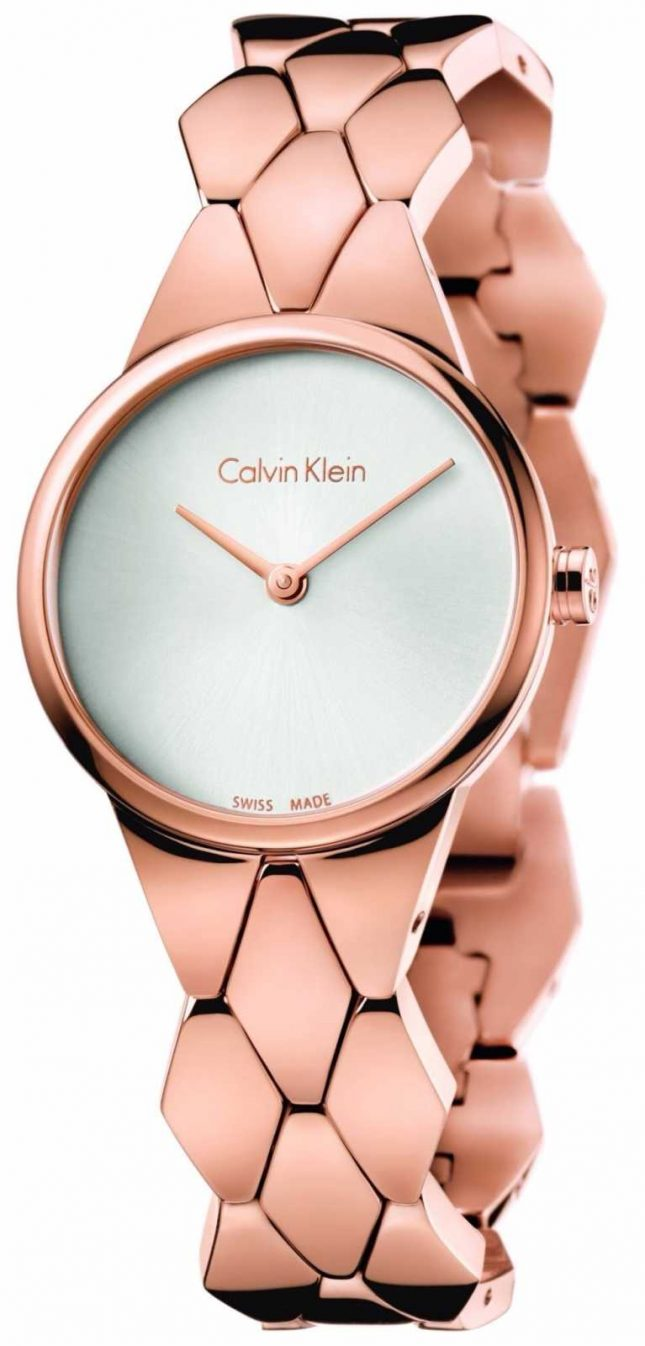 Calvin Klein Women's Snake Rose Gold PVD Bracelet Silver Dial K6E23646