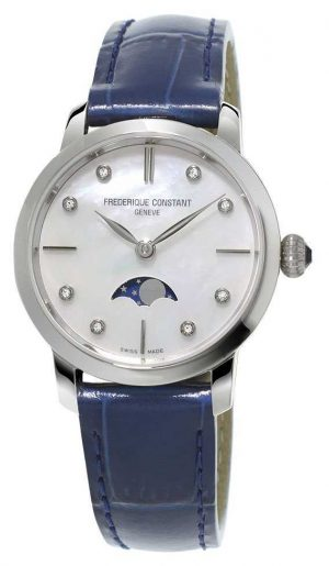 Frederique Constant Womens Slimline Moonphase Diamond Set Blue Leather Strap FC-206MPWD1S6