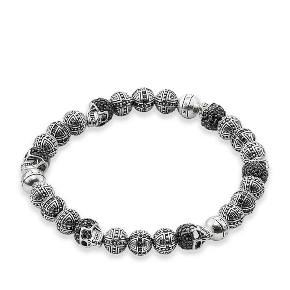 Thomas Sabo Bracelet 17cm Black 925 Sterling Silver/ Zirconia A1177-051-11-M