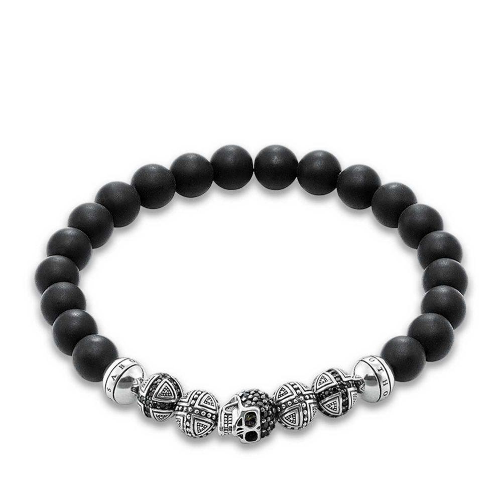 Thomas Sabo Bracelet 17cm Black 925 Sterling Silver/ Obsidian/ Zirconia A1099-159-11-M