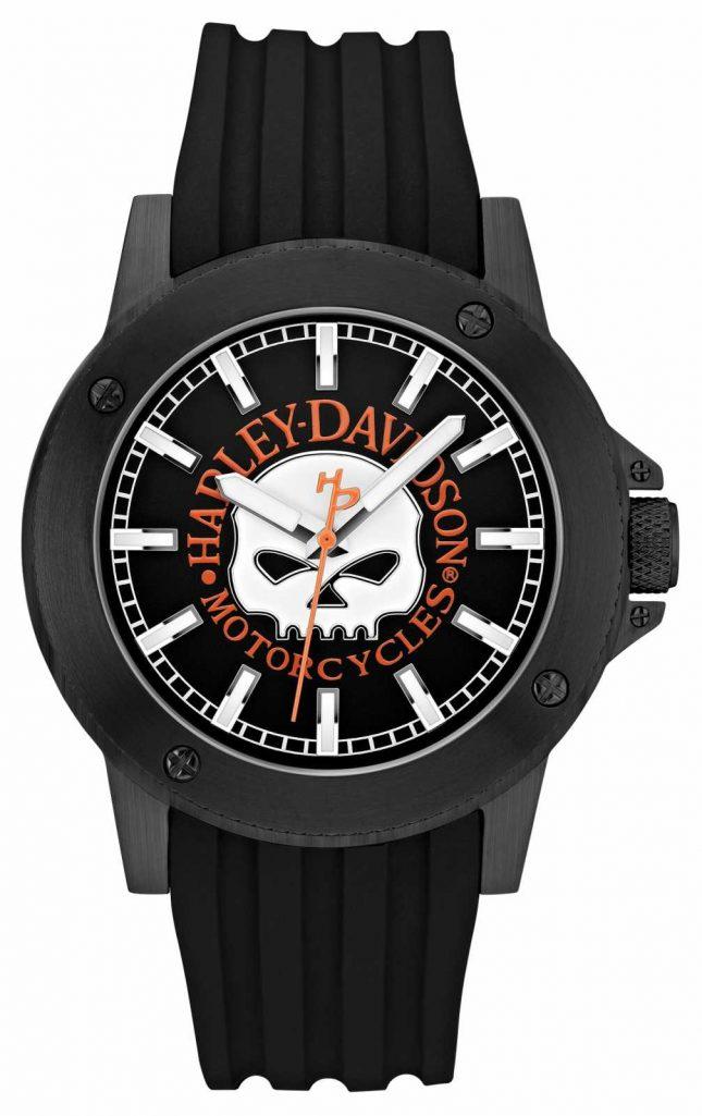 Harley Davidson Men's Black Silicone Strap   Black Dial 78A115