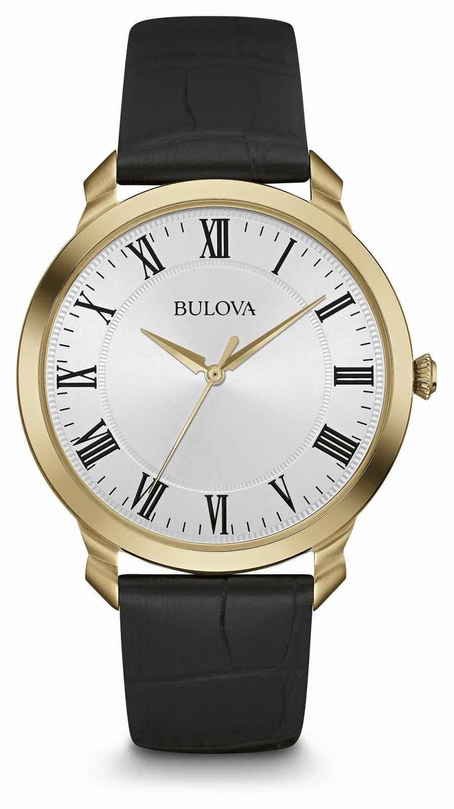 Bulova Mens Black Leather Strap White Dial 97A123