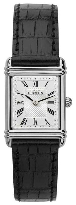 Michel Herbelin Womens Esprit Art Deco Black Leather Strap 17478/08