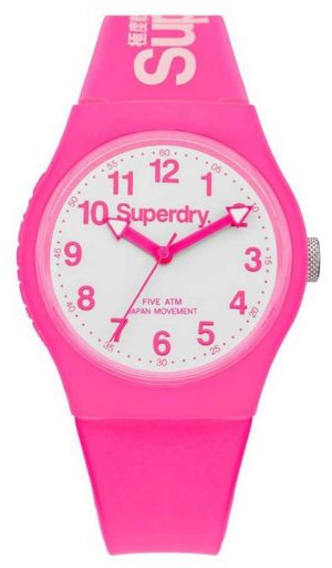 Superdry Unisex Urban Pink Rubber Strap White Dial SYG164PW