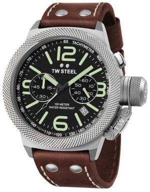 TW Steel Mens Canteen 50mm Chrono Brown Leather Strap CS24