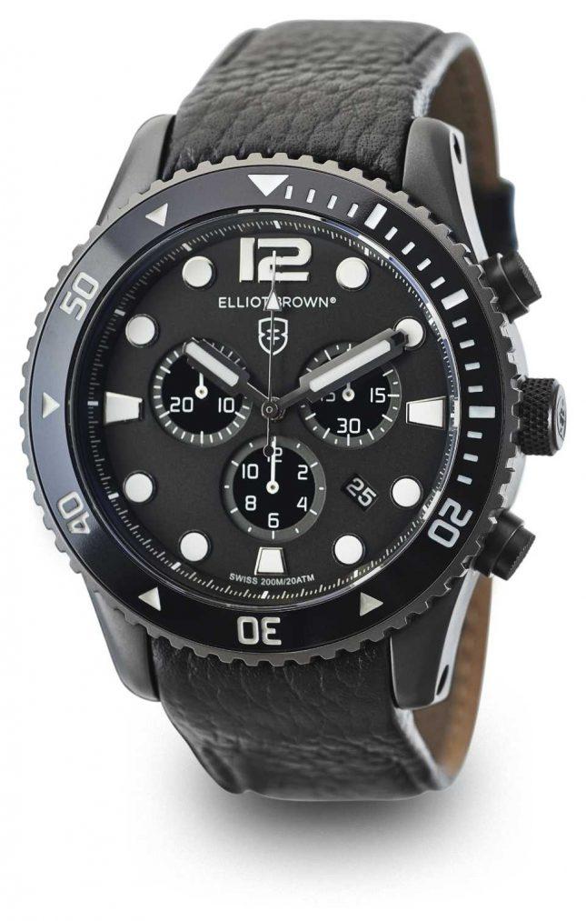 Elliot Brown Mens Bloxworth Black Leather Black Dial 929-001-L01