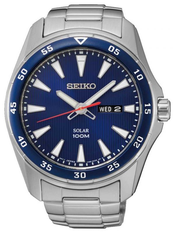 Seiko Mens Solar Stainless Steel Blue Dial SNE391P1