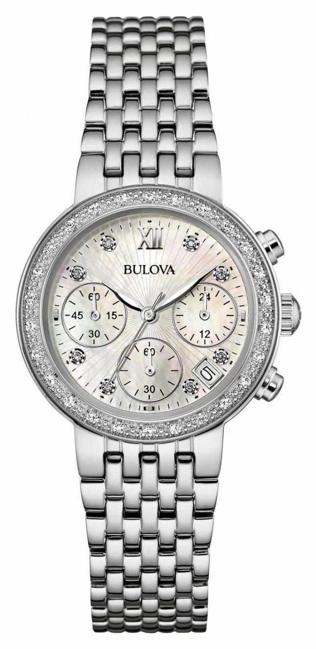 Bulova Ladies Stainless Steel Diamond Set Chrono 96W204