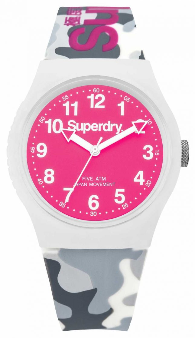 Superdry Mens Urban camouflage Strap Pink Dial SYG164EP