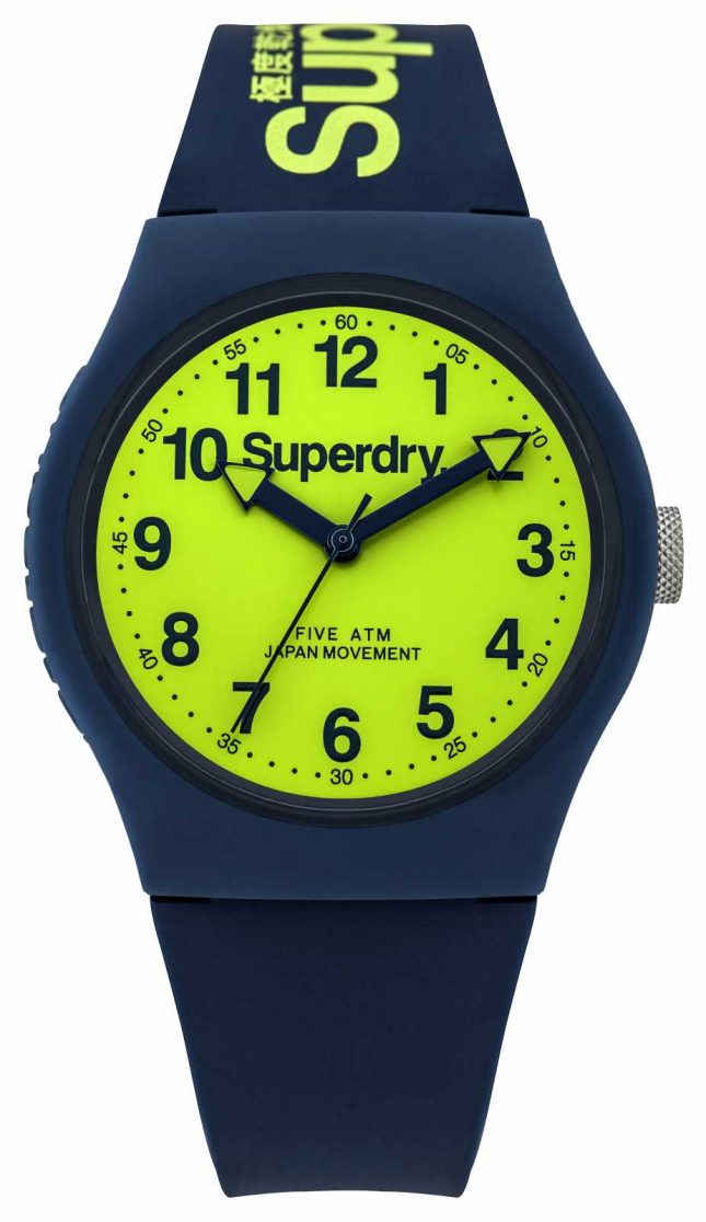 Superdry Mens Urban Blue Rubber Strap Green Dial SYG164UN