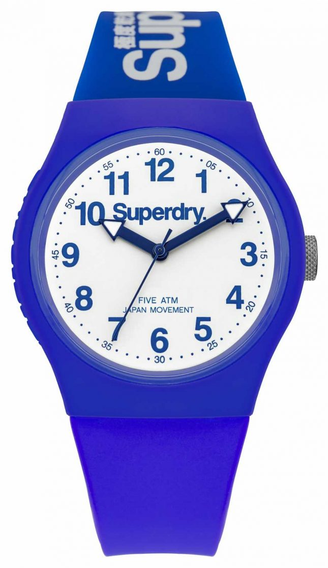 Superdry Mens Urban Blue Rubber Strap White Dial SYG164U