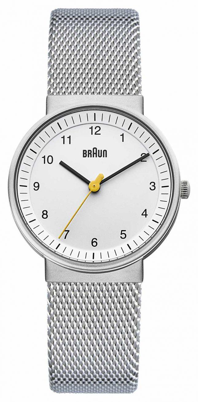 Braun Ladies Watch   Stainless Steel Mesh Strap   White Dial   BN0031WHSLMHL