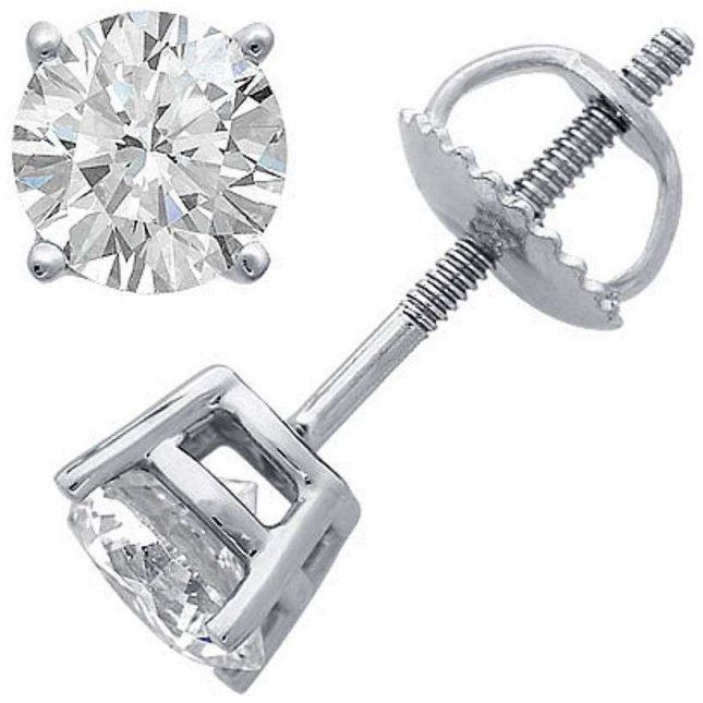 Earrings Four Claw 0.75ct G SI Screw Back Fittings C75PT-4CLAW-GSI