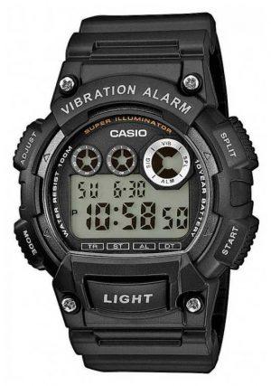 Casio Mens Black Resin Strap Vibration Alarm Watch W-735H-1AVEF