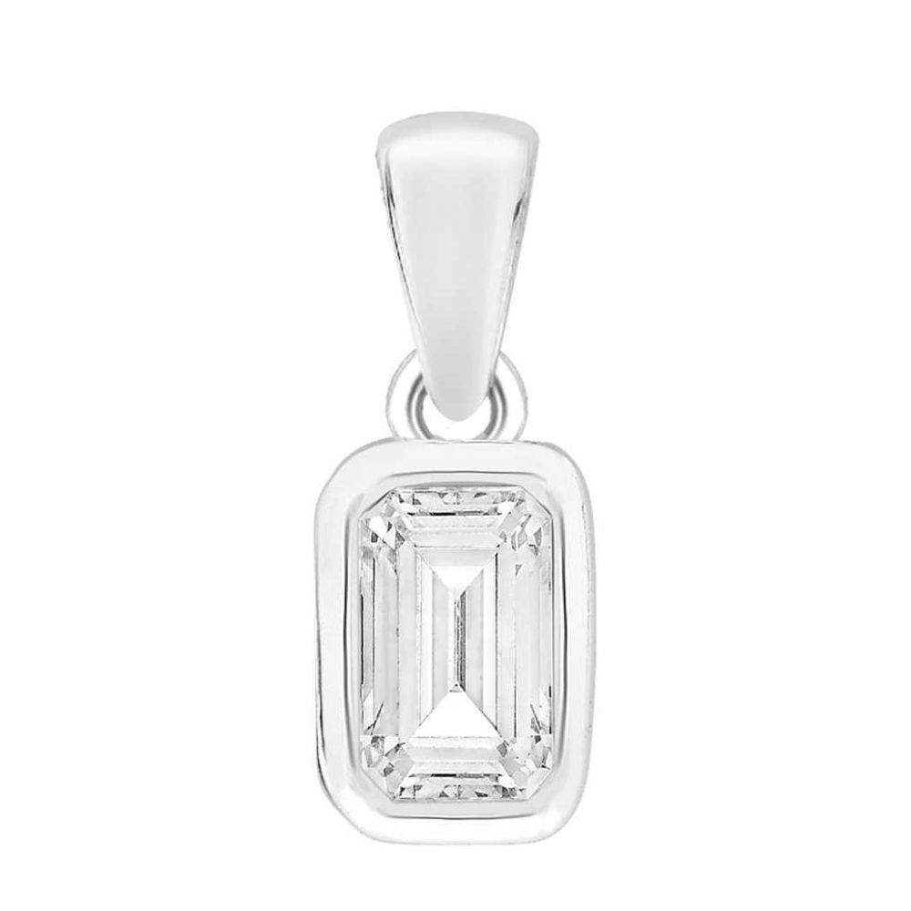 Perfection Crystals Single Stone Rubover Emerald Pendant (1.00ct) P5673-SK