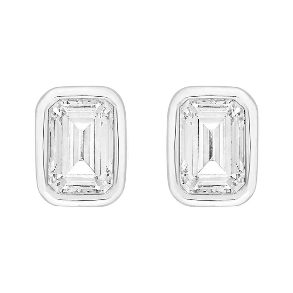 Perfection Crystals Single Stone Rubover Emerald Stud Earrings (1.00ct) E4045-SK