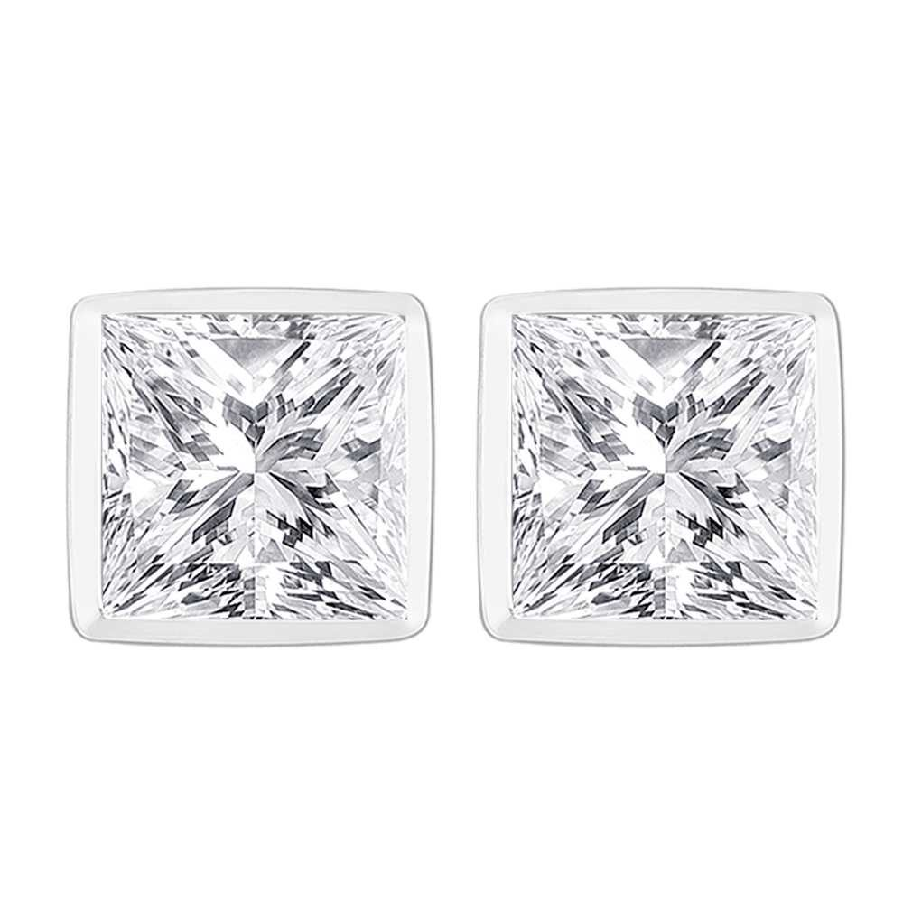 Perfection Crystals Single Stone Rubover Princess Stud Earrings (1.80ct) E3925-SK