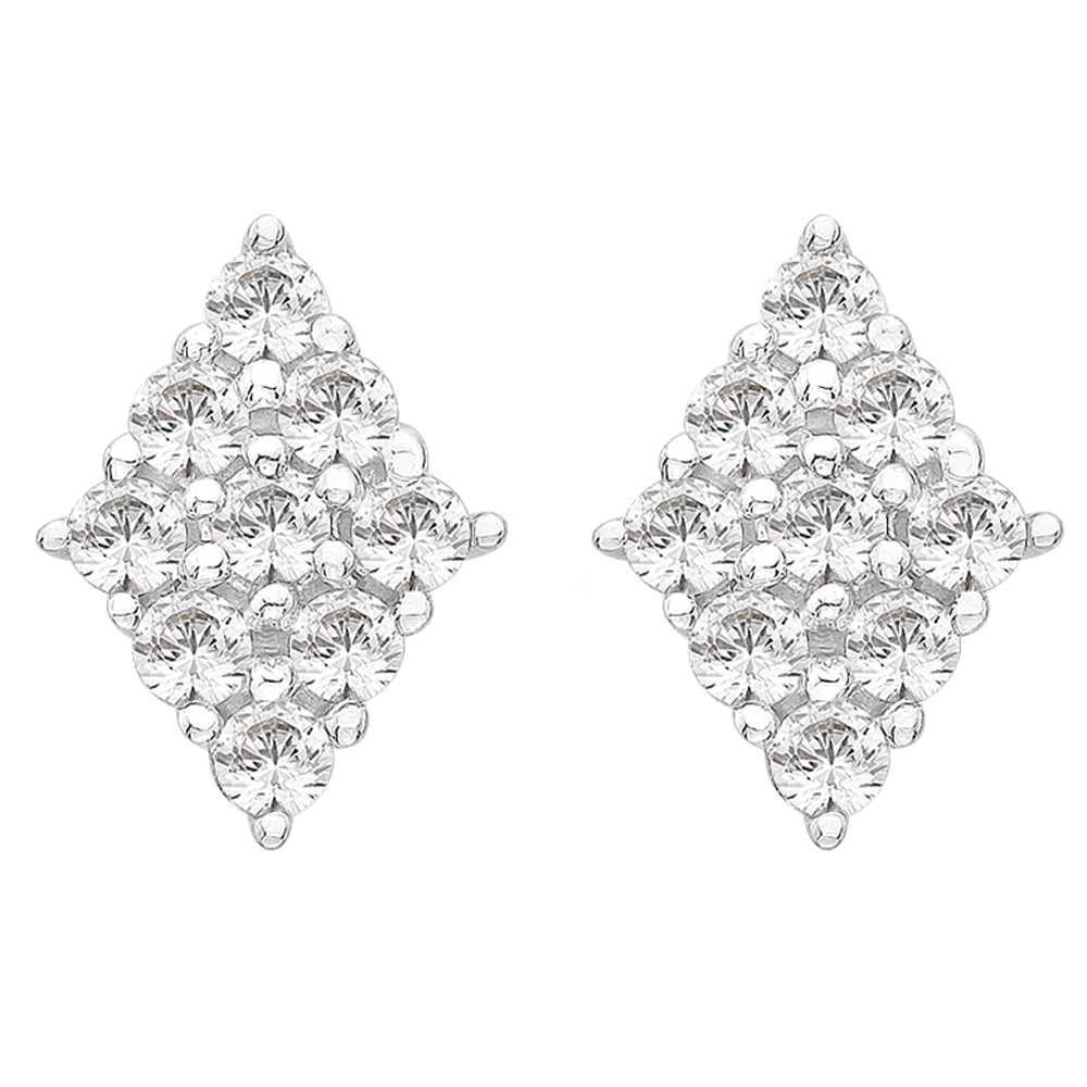 Perfection Crystals Diamond Shaped Cluster Stud Earrings (0.50ct) E2178-SK