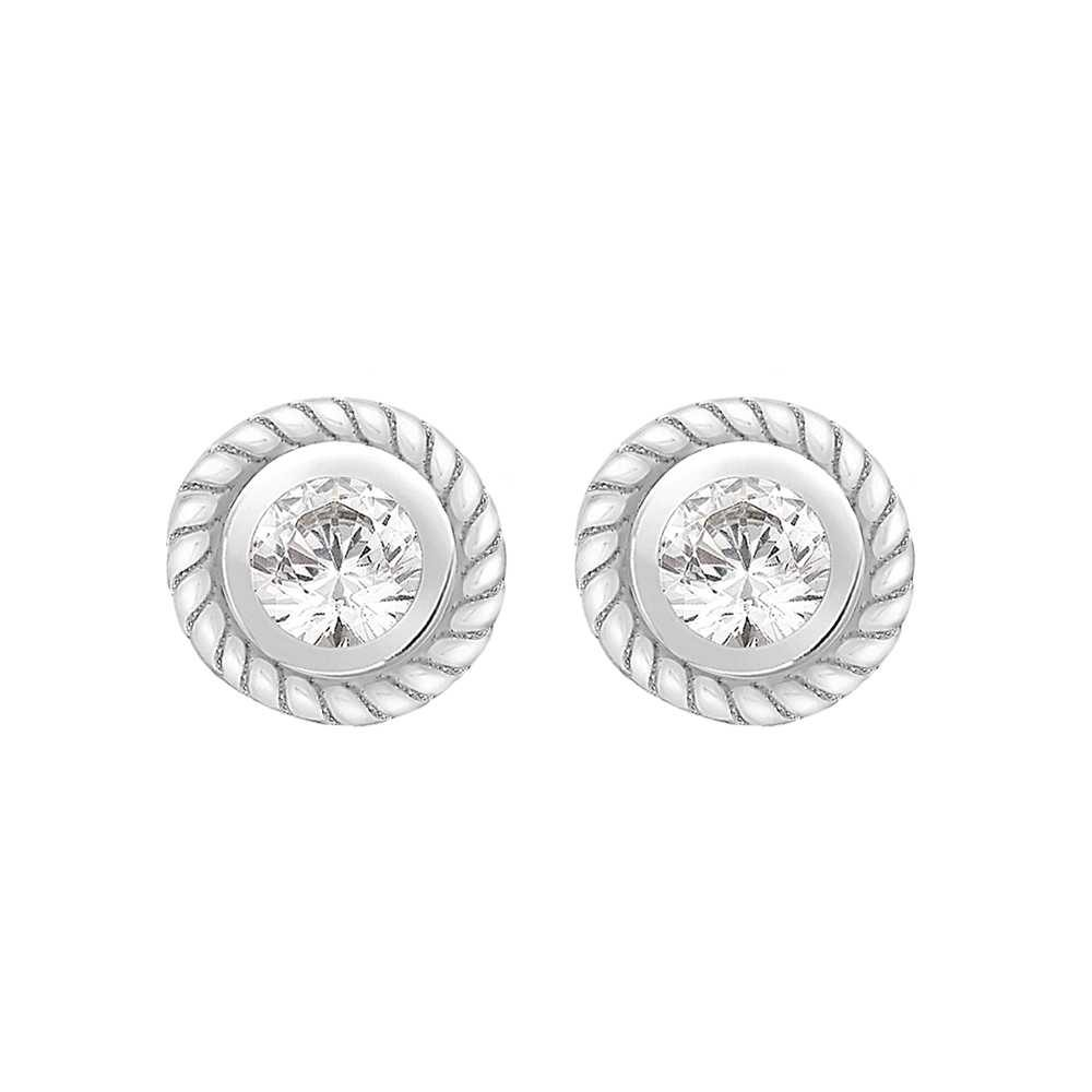 Perfection Crystals Single Stone Rubover Ornate Stud Earrings (0.30ct) E2146-SK