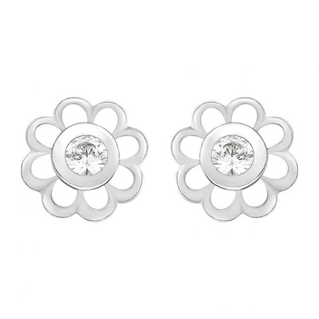 Perfection Crystals Single Stone Flower Mounted Stud Earrings (0.15ct) E2142-SK