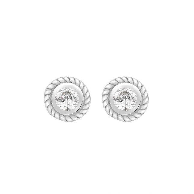 Perfection Crystals Single Stone Rubover Ornate Stud Earrings (0.05ct) E2144-SK