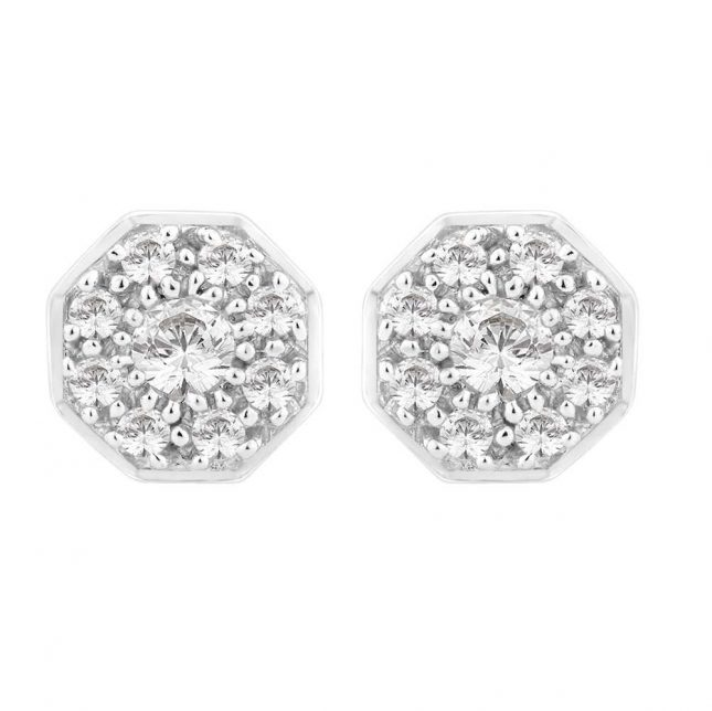 Perfection Crystals Art Deco Cluster Stud Earrings (0.50ct) E2132-SK