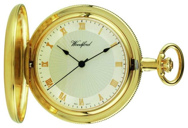 Woodford Gold-Plate Full hunter White Dial pocket Watch 1053