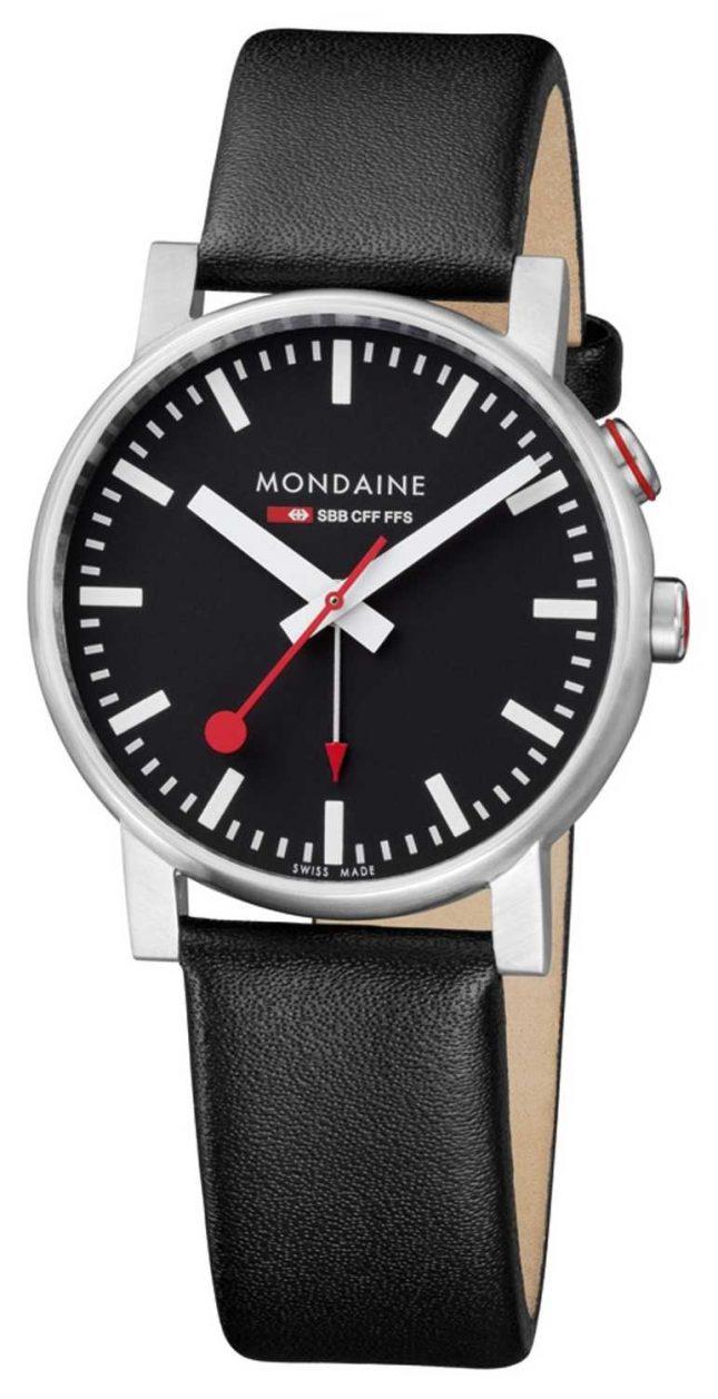 Mondaine Evo2 Alarm Black Leather Strap A468.30352.14SBB