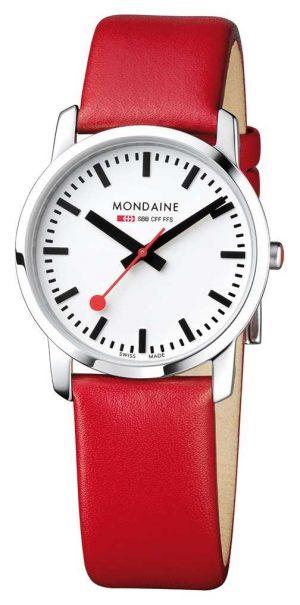 Mondaine Ladies Simply Elegant Red Leather Watch A400.30351.11SBC