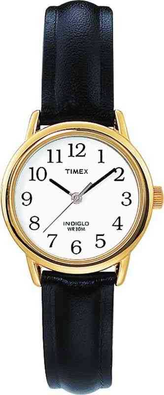 Timex Easy Reader Black Leather Strap Gold Plated Case T20433