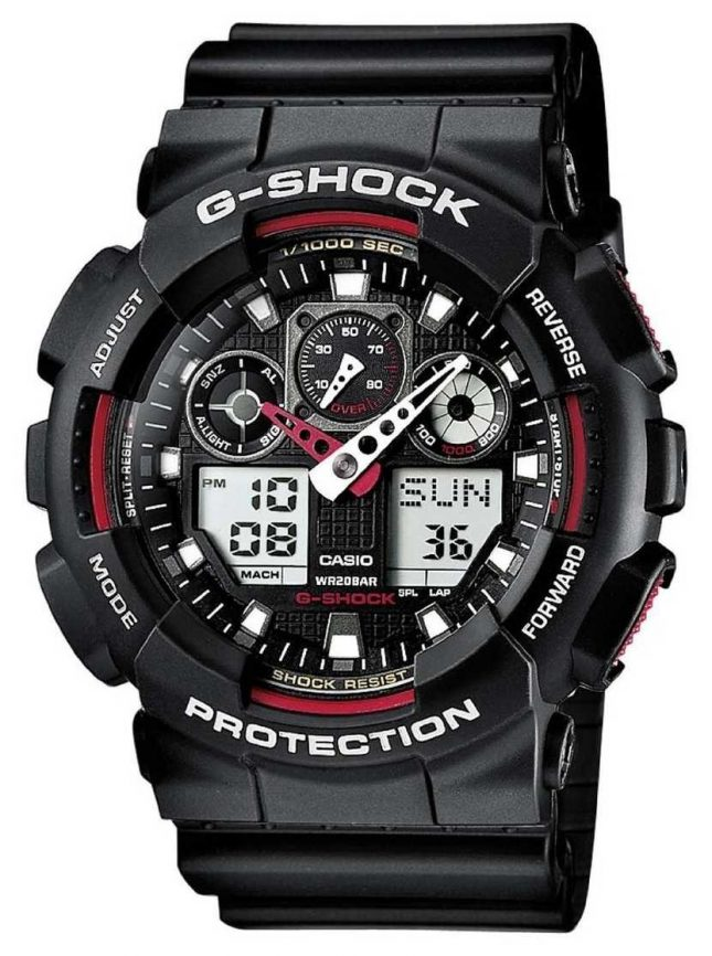 Casio G-Shock Chronograph Alarm Black Red GA-100-1A4ER