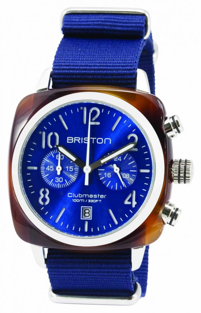 Briston Mens Clubmaster Classic Acetate Chrono Tortoise Shell Blue 15140.SA.T.9.NNB