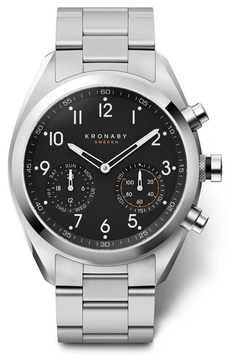 Kronaby 43mm APEX Black Dial Stainless Steel Bracelet A1000-3111 S3111/1