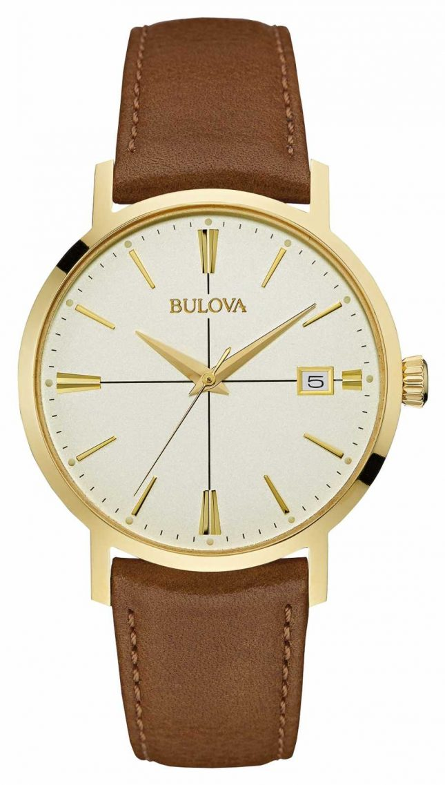 Bulova Mens Aerojet Brown Leather Strap Cream Dial 97B151