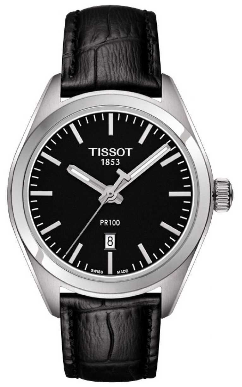 Tissot Womens PR100 Black Leather Strap Black Dial T1012101605100