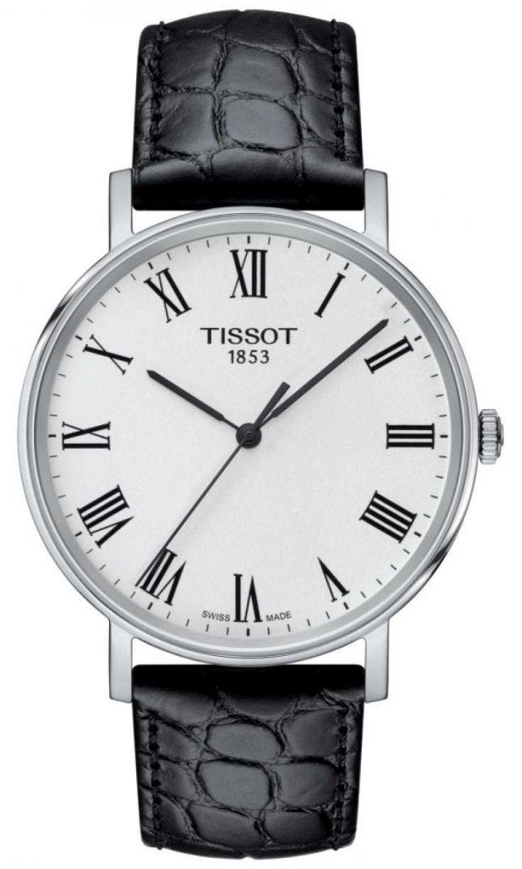 Tissot Mens Everytime Black Embossed Leather Strap White Dial T1094101603301