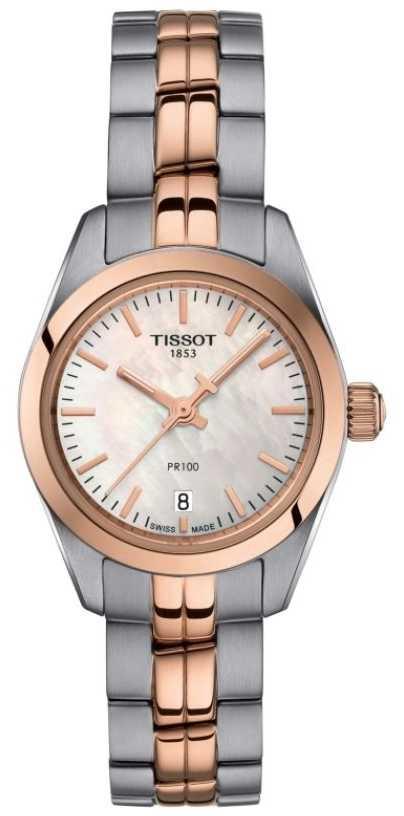 Tissot Ladies PR100 Two Tone Bracelet Mother Of Pearl Dial Watch T1010102211101