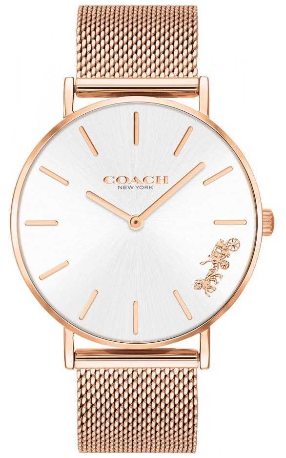 Coach Womens Perry Rose Gold Mesh Bracelet Watch 14503126