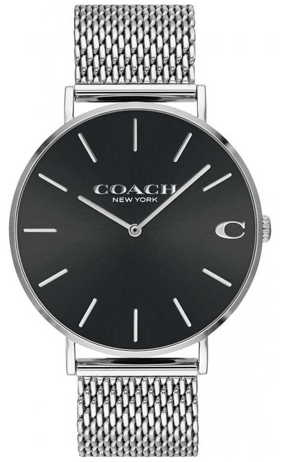 Coach Men's Charles Silver Mesh Bracelet Black Dial 14602144