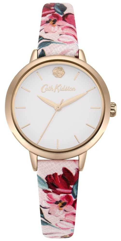 Cath Kidston Womens Pink Floral Printed Strap White Dial CKL064PRG