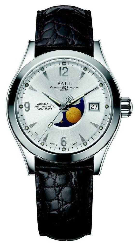 Ball Watch Company Ohio Moon Phase Automatic Silver Date Display Leather Strap NM2082C-LJ-SL