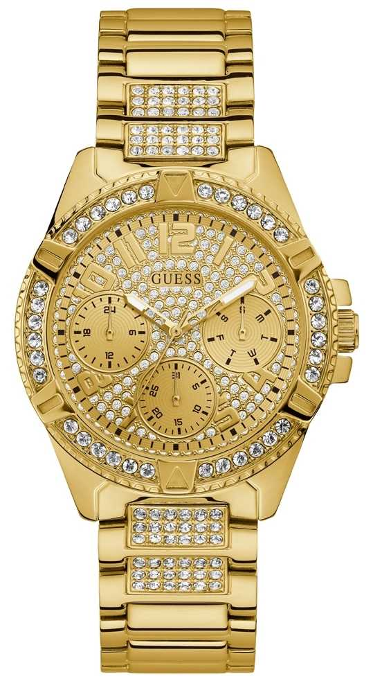 Guess Ladies Gold Watch Gold Dial With Crystals W1156L2