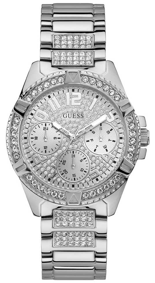Guess Ladies Silver Watch With Silver Dial And Crystals W1156L1
