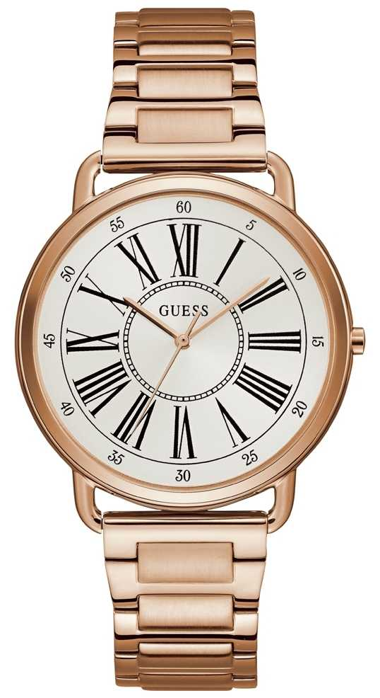 Guess Ladies Rose Gold Watch With White Dial W1149L3