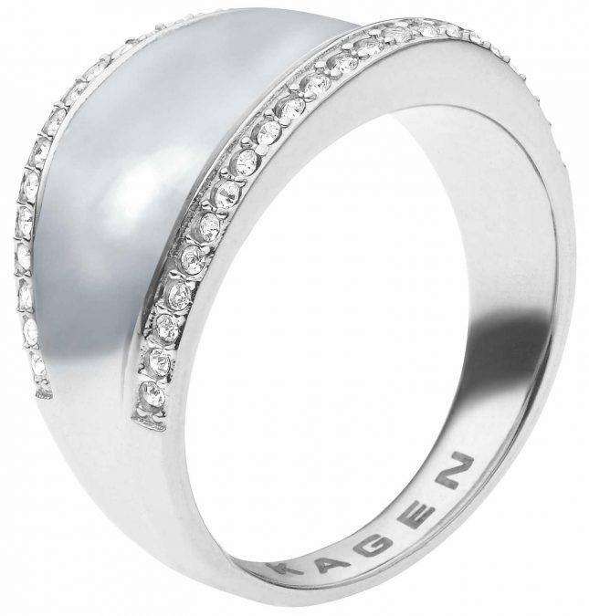 Skagen Womens Stainless Steel Crystal Pearl Ring UK Size M 1/2 SKJ0167040505