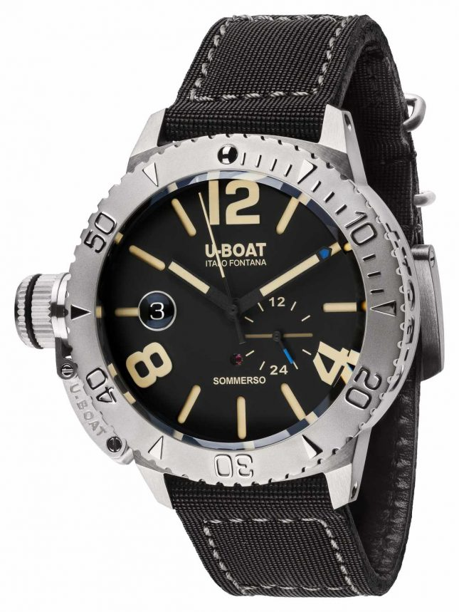 U-Boat Sommerso 46 BK Automatic Black Calf Lined Rubber Strap 9007