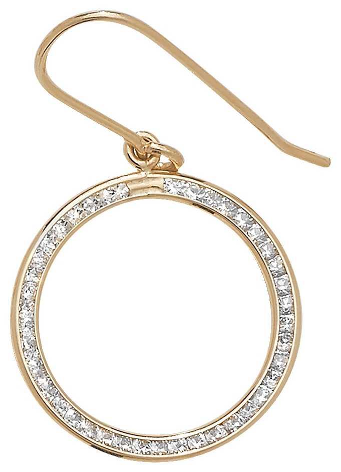 James Moore TH 9k Yellow Gold Diamond Drop Hoop Earrings ER971